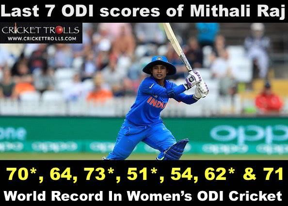 Mithali Raj becomes the first ever player in women's ODI's to score seven consecutive 50 scores. #WWC17 #ENGWvINDW For more cricket fun click: http://ift.tt/2gY9BIZ - http://ift.tt/1ZZ3e4d