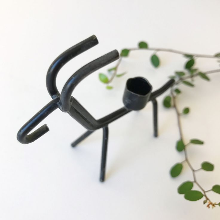 A charming Mid Century modern small black wire metal candleholder designed by Gunnar Ander. Made in Sweden. Ystad Metall Sweden. by ReOSL on Etsy