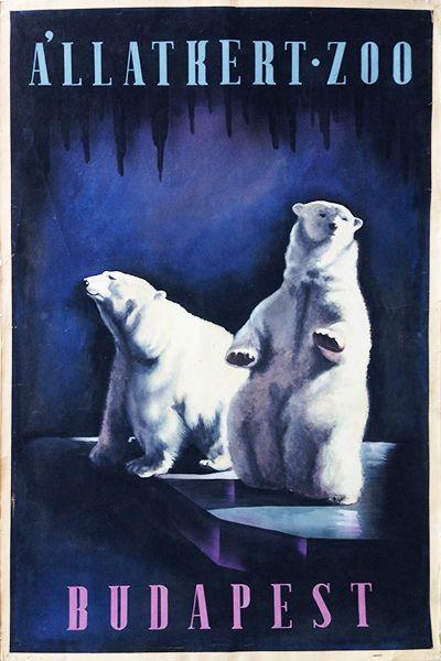 Bato Budapest Zoo art deco artwork poster maquette Hungarian 1930s