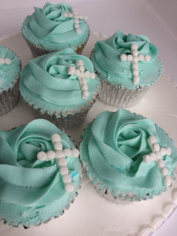 Rose Cupcake Baptism1st First Holy  Communion Confirmation Cross Cup Cake