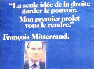 9) 1974 : Giscard vs Mitterrand A la suite du décès du président Pompidou, une élection est organisée en mai 1974. Le président intérimaire se nomme une nouvelle fois Poher. 2 candidats se détachent du lot : Mitterrand et VGE. Le manque de moyens de Mitterrand est criant : son portrait resserré en timbre poste nous montre un homme crispé, à des années lumières de la force tranquille qu'il deviendra 7 ans +  tard. Le slogan est trop long et le bleu criard crève les yeux.
