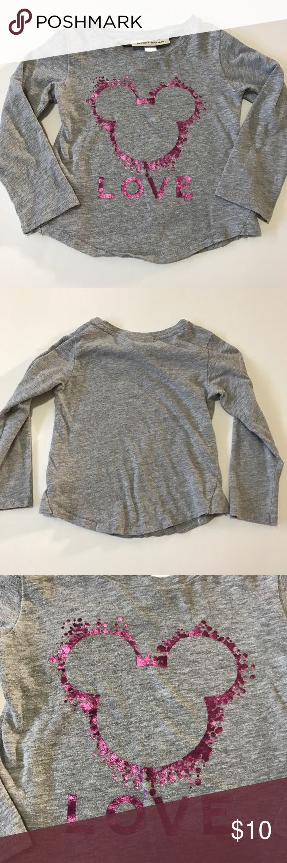Baby Gap + Junk Food long sleeve shirt Baby Gap + Junk Food long sleeve shirt in gray with purplish/pink Minnie Mouse design and love on front. Baby Gap + Junk Food  Shirts & Tops Tees - Long Sleeve