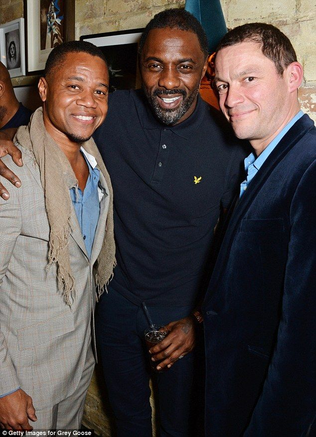 Acting pros: Cuba Gooding Junior, Idris Elba and Dominic West were all at the London shind...