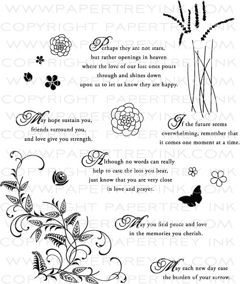 With Sympathy Stamp Set: Papertrey Ink Clear Stamps Dies Paper Ink Kits Ribbon