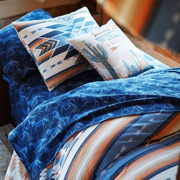 PB Teen Junk Gypsy Cosmic Horses Flannel Sheet Set, XL Twin, Blue ($89) ❤ liked on Polyvore featuring home, bed & bath, bedding, bed sheets, patterned pillow cases, twin extra long fitted sheets, twin xl sheet sets, blue sheet sets and twin xl flannel sheet sets