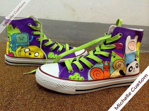 Kids Custom Purple Converse Customize Hand Painted Shoes, High Top Converse,Custom Converse,Custom Shoes,Birthday Gifts,Kids Converse Shoes on Etsy, $71.00