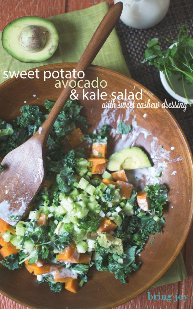 Sweet potato, avocado, & kale salad + creamy sweet dressing   vegan + gluten-free