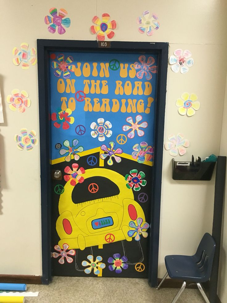 Classroom Decorating Ideas ~ Scholastic book fair reading feeling groovy bulletin class