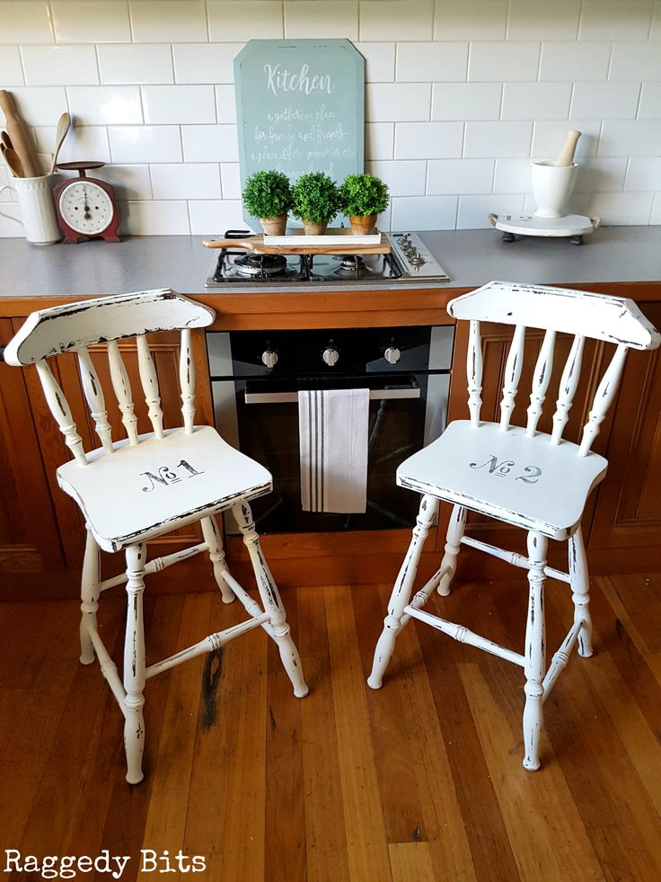 Add some farmhouse charm to your decor with this set of 2 Farmhouse Breakfast Bar Stools. Painted using Fusion Mineral Paint - Picket Fence.