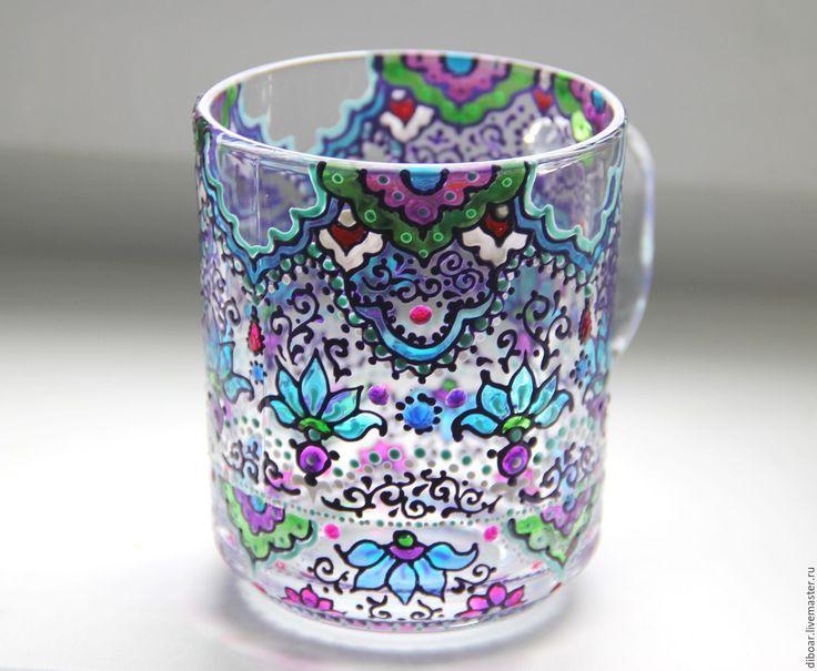 Купить Чайные кружки, бокалы. Витражная роспись - разноцветный, кружка с росписью, чашка с росписью, стакан