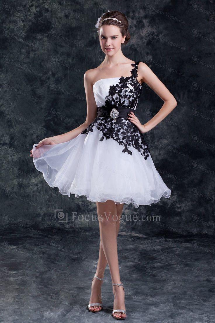 Organza One Shoulder Short Column Embroidered Short Wedding Dress - Focus Vogue