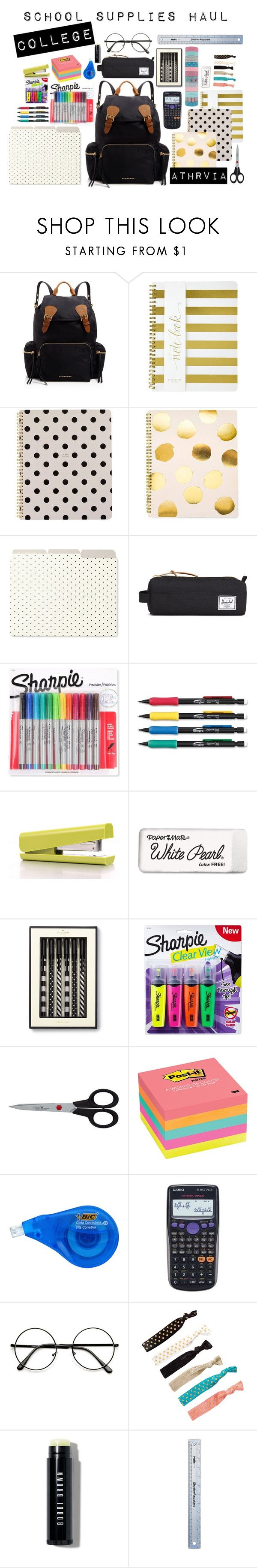 """school supplies haul"" by nerizaarviana on Polyvore featuring Burberry, Sugar Paper, Kate Spade, Herschel Supply Co., Parker, aNYthing, Paper Mate, Sharpie, Zwilling J.A. Henckels and Post-It"