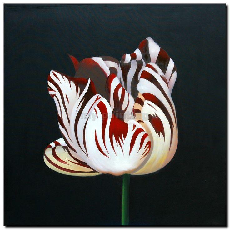 Schilderij Bloemen Frida, wit rode Tulp, http://www.mypainting.nl/webshop/101455-collectie-bloemen