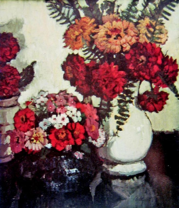 Still Life: Flowers in Vases and Bowl