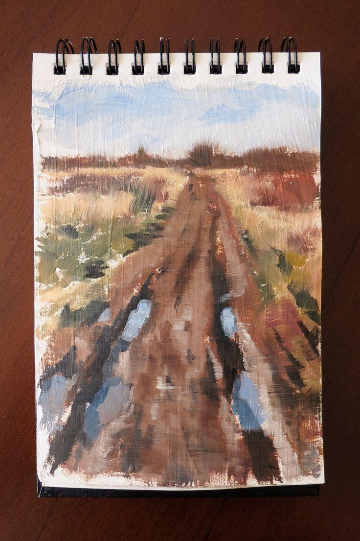 Landscape oil study - sketch by Magdalena Dymańska