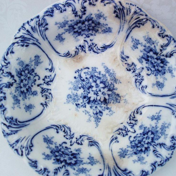 Antique Flow Blue, Flow Blue Pottery, Serving Dishes.