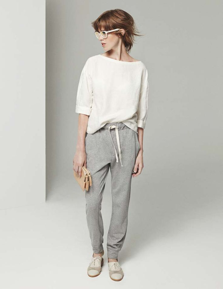 love the idea of dolling up uber casual sweats: roll up the hem with flats or kitten heel