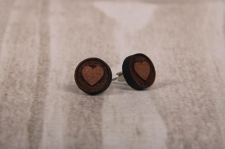 Wooden Laser Cut Big Round Heart Earrings made in South Africa