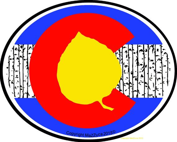 Aspen leaf colorado flag sticker by artistmazzuca on etsy