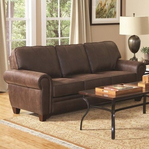 Rustic Brown Leathe  Sofa Couch Family Living Furniture Basement futon bed new #Traditional