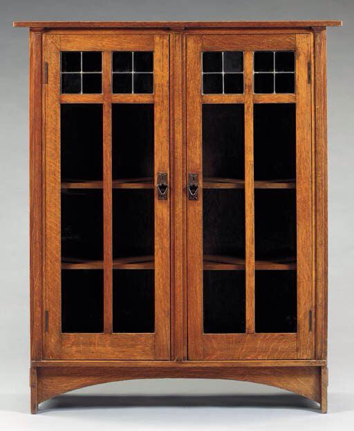 "Gustav Stickley Harvey Ellis design 2 Door bookcase. No. 702 Ca. 1905. 57"" x 48"" x 14"""