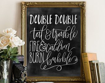 Halloween Download Double Double Toil and Trouble Chalkboard Halloween Fall // caldron bubble, typography, wall decor // Hewitt Avenue