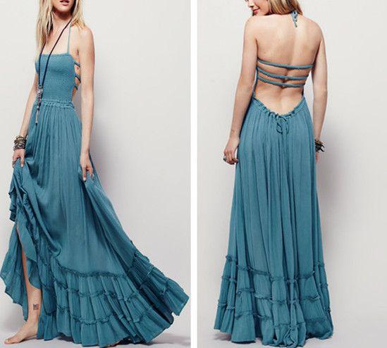 Boho Maxi Dress Teal Blue Halter Gown Size Large Long Strappy Backless Gauze Gypsy Dress Smocked Front Adjustable Waist Triple Tiered Hem