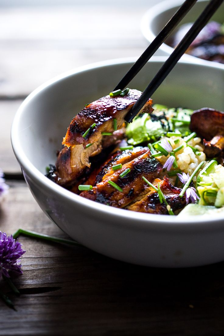 Grilled Japanese Farm Style Teriyaki Bowl - can be made with grilled chicken or portobellos, with refreshing cucumber sesame ribbon salad, avocado, and sweet brown rice.   www.feastingathome.com