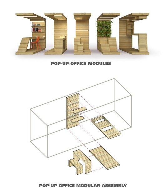 POP-UP Office Installation / Dubbeldam Architecture + Design,modules and assembly diagram