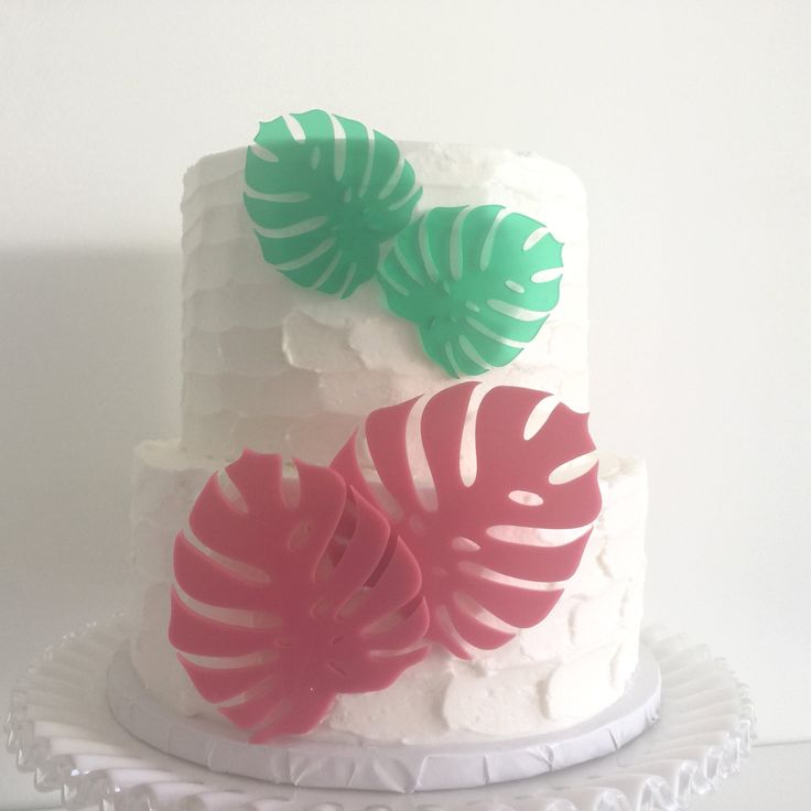 Monstera Leaf Acrylic Cake Toppers Set of 4 - Tropical Wedding, Bachelorette & Birthday. Add some style to your next tropical celebration with this set of four acrylic Monstera leaf cake toppers. They can be pressed onto the side of the cake as shown here, set on top or stuck into the top of the cake. Perfect for your tropical wedding, bachelorette party, or any reason to celebrate! Includes two small and two large Monstera leaves, in up to two colors. Select your main color for two large...