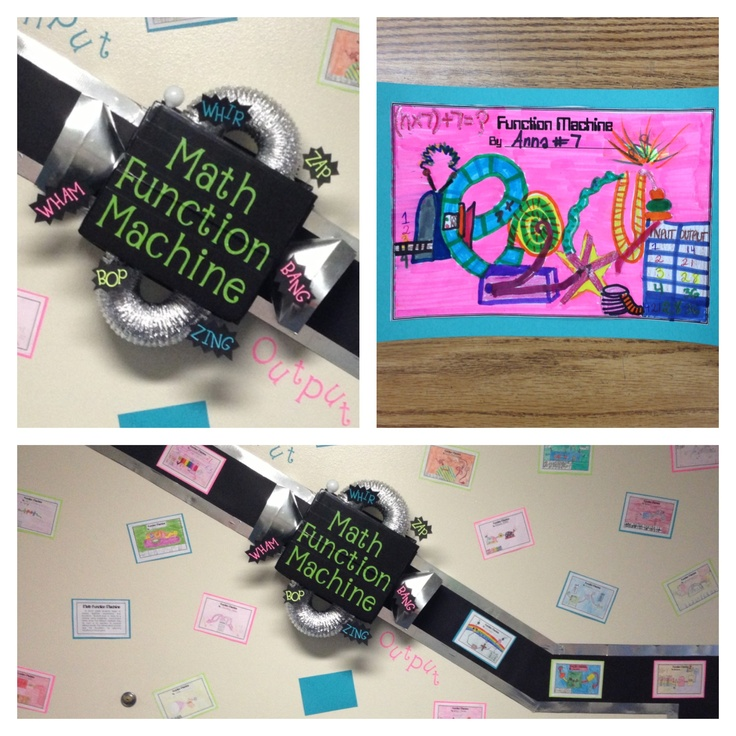 Function Machine! Students create their own function machines after learning how to do input/output tables. Makes for a great wall display!