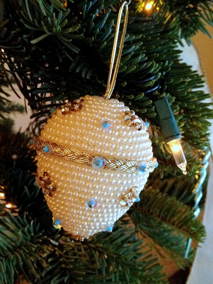 Pearl and sequin egg Christmas ornament. $12.95, via Etsy.