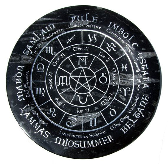 Old World Pagan Wheel of the Year fully engraved by castastone