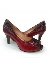 Coral Sea Serpent - Womens red python peeptoe mid heels $129.00 #shoeenvy #shoes #fashion #instalove #pretty #ethical #glamorous