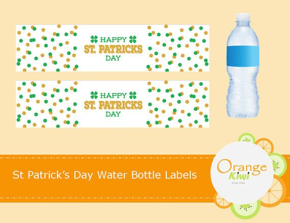 Happy St Patrick's Day Water Bottle Labels St by OrangeKiwiDesign