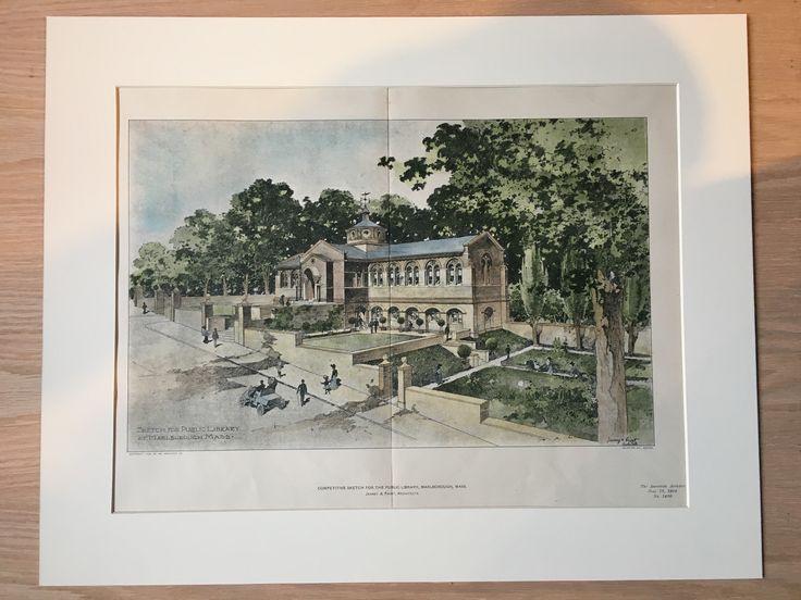 Public Library, Marlborough, MA, 1904, Jenney & Frost, Original Hand Colored