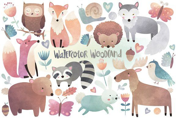 Watercolor Woodland Animals Clipart by Kenna Sato Designs on @creativemarket