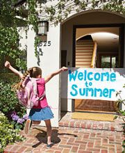 I would've loved to come home to this on the last day of school! Celebrate!...Have a bucket of waterballoons and squirt guns ready to go. Then make home made pizzas for dinner. After, pop some popcorn and watch a family movie together!