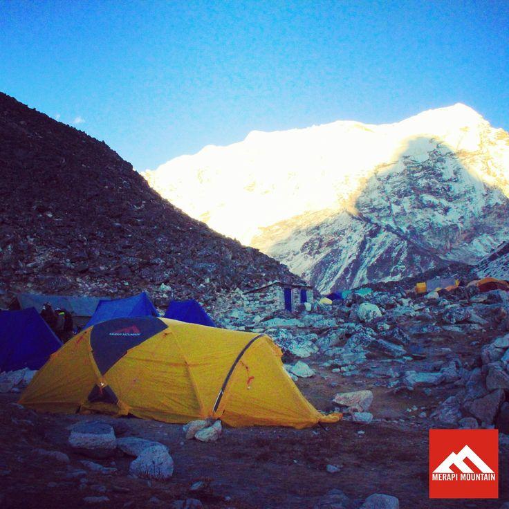 On the clear afternoon at Imja Tse basecamp, Himalaya Nepal