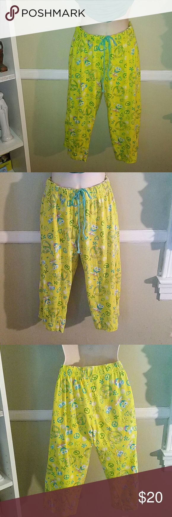 Viacom Stephen Hillenburg creation capris Multi color Viacom Stephen Hillenburg creation Capri's yellow, teal, pink ,green,with a  elastic drawstring waist band thank you for looking Stephen Hillenburg Pants Capris