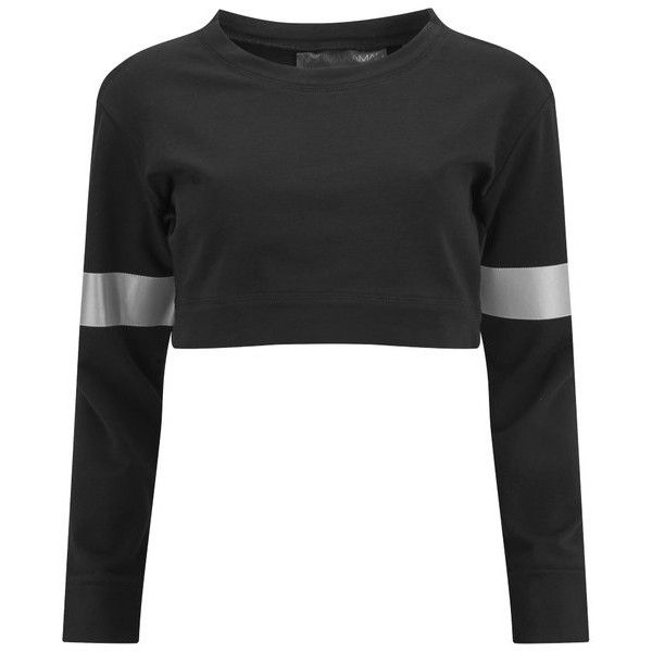 Norma Kamali Women's Cropped Sweatshirt - Black found on Polyvore featuring tops, hoodies, sweatshirts, shirts, crop top, sweaters, black, black sweat shirt, sleeve shirt and sweatshirt shirts