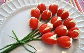 Tulipanes de Tomate Cherry rellenos. Sanos y muy Fáciles de hacer