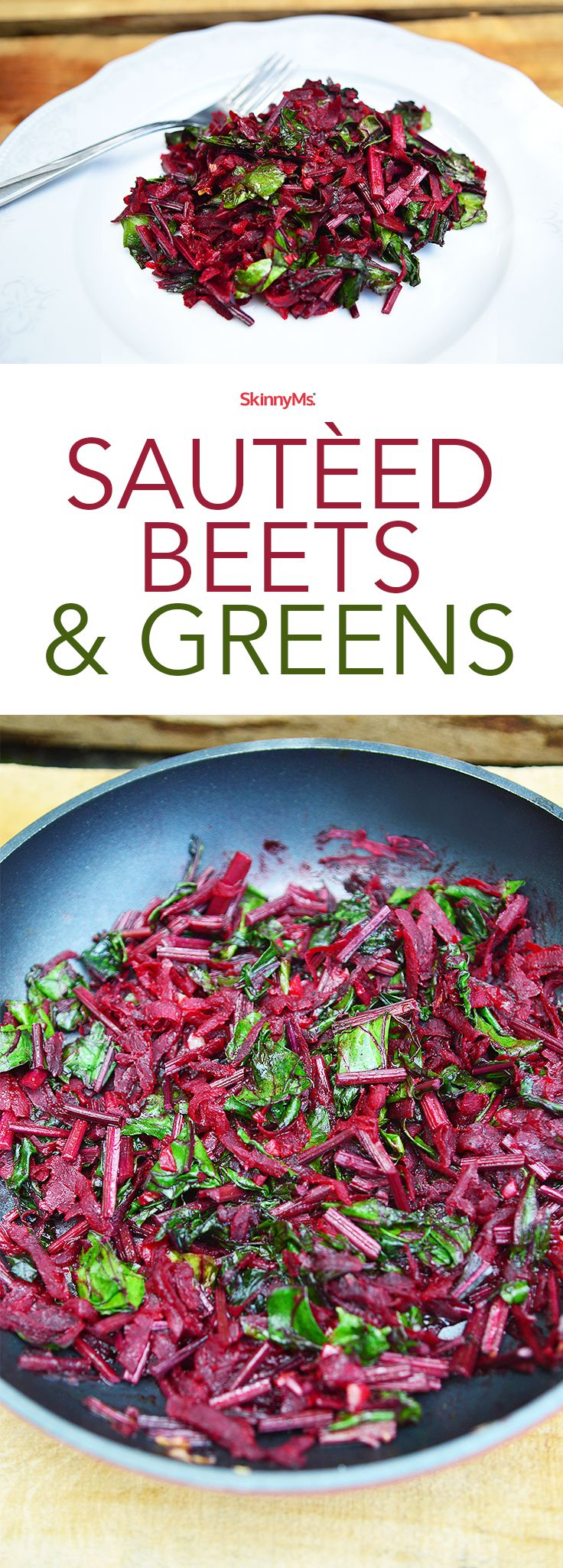 This Sautéed Beets recipe is gorgeous and delicious! This dish makes use of the entire beet, from its sweet red flesh to its vitamin-rich stems. This dish is a real winner! #detox #superfoods #skinnyms