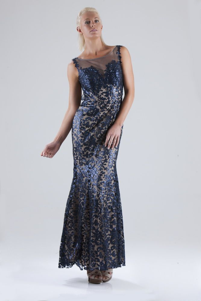 Navy lace sequins over nude, open back. Closed back is optional.