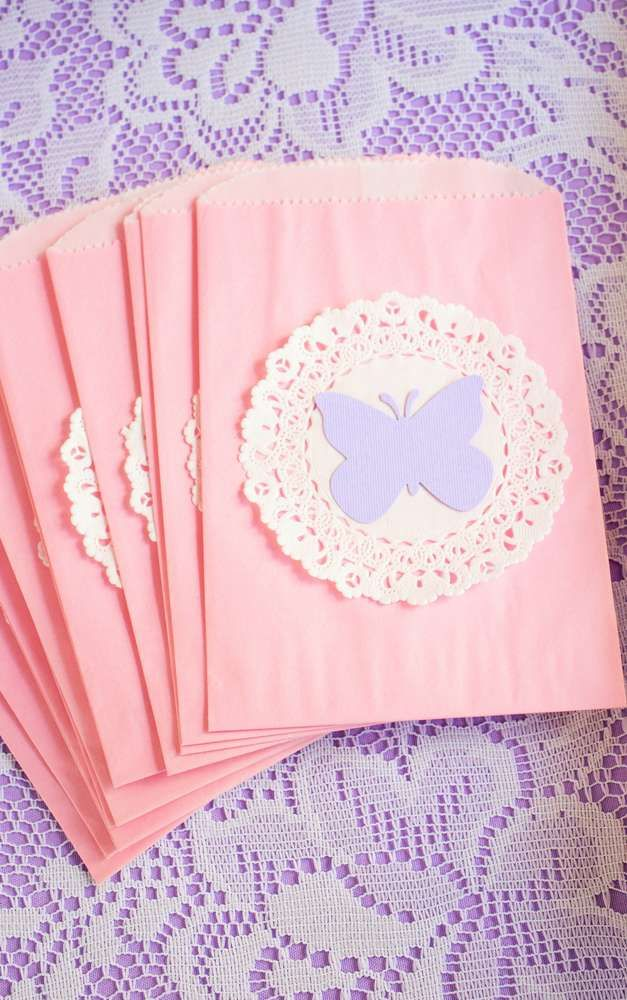 Shabby chic butterfly birthday party favor bags! See more party planning ideas at CatchMyParty.com!