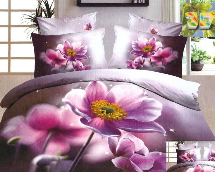 Bawełniana wrzosowa pościel w różowe kwiatki