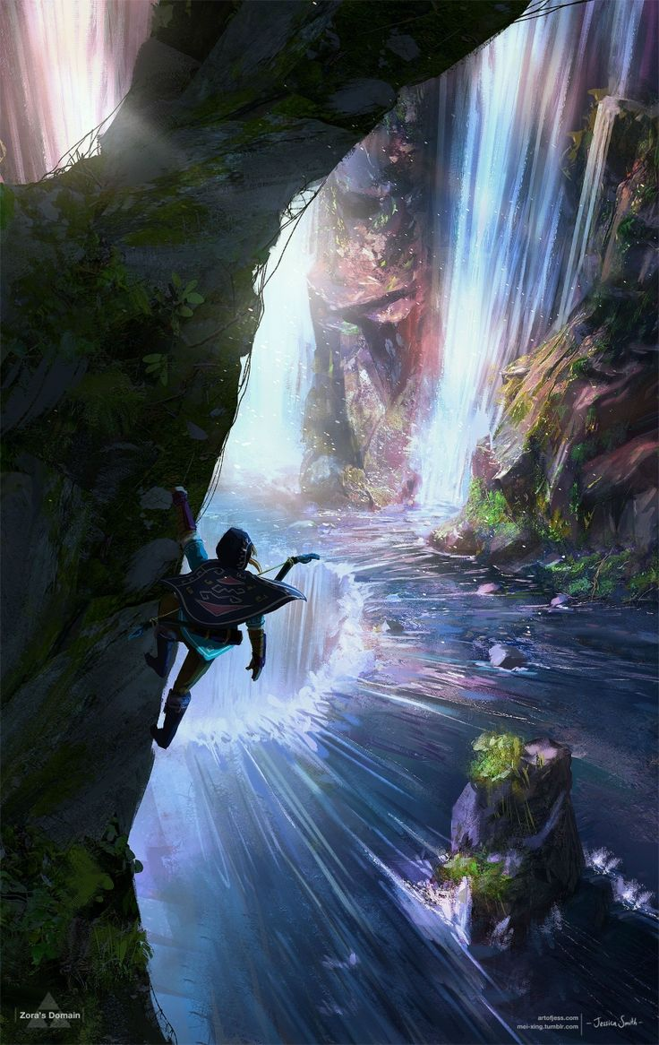 Jessica Smith Created Masterful Zelda Wii U Inspired Art Featuring Zora's Domain and Death Mountain Más