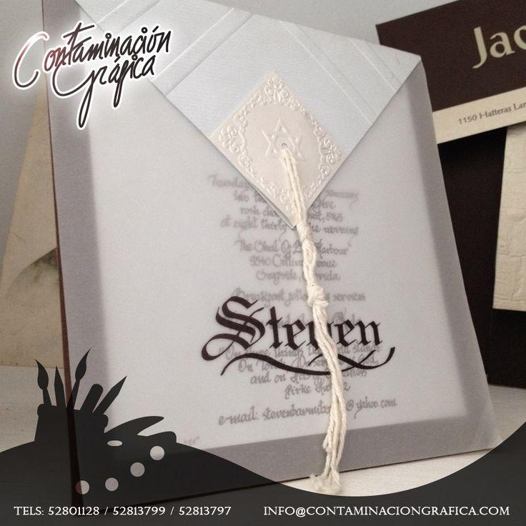 Realizamos una infinidad de invitaciones para cada uno de los eventos que tengas en puerta.como por ejemplo: las invitaciones para el Bar Mitzvá de Steven.