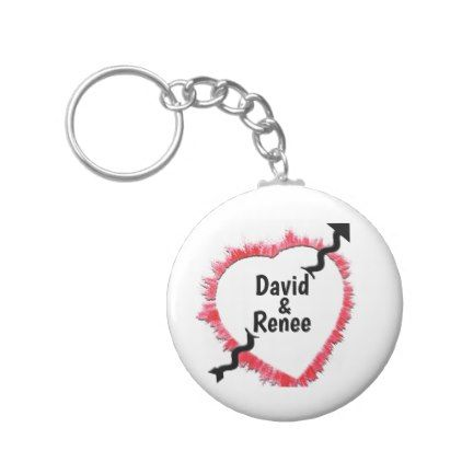 Tattered Red Heart Outline Arrow Template Keychain