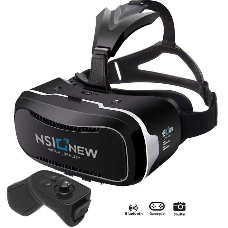 NSInew 3D Virtual Reality Headset is HD VR Goggles or 3D VR Glasses for 100% Virtual Reality Gaming Experience, 3D Movies, and 360˚ Video. It's a New VR Headset with BONUS Bluetooth Remote Controller